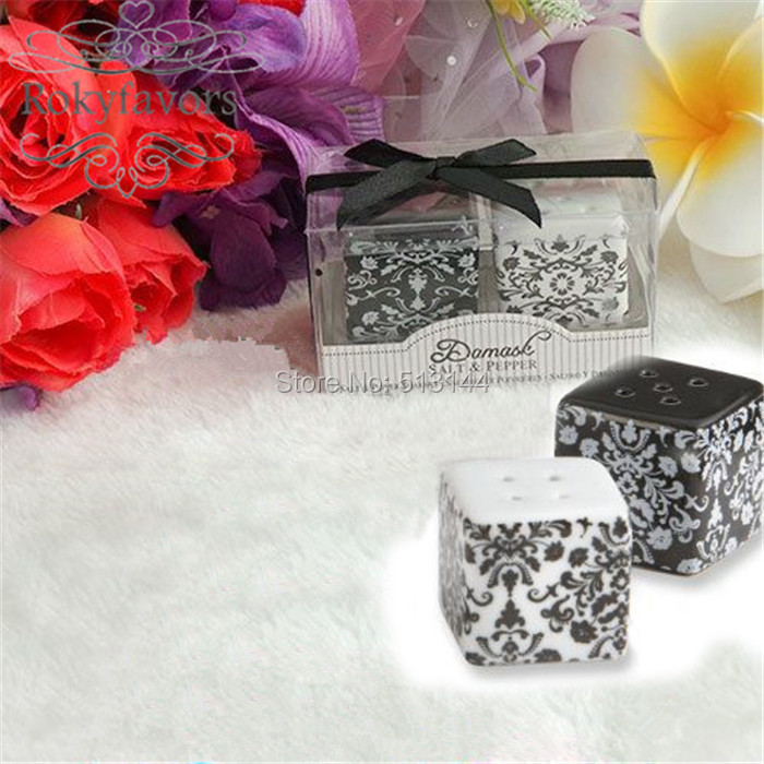 Free Shipping 100set Damask Ceramic Salt Pepper Shakers Wedding
