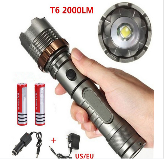 Lumens 5 Modes CREE XML T6 2000 Rechargeable Flashlight Outdoor Lantern For Hunting+Charger (US)+18650 Li-ion Battery crazyfire led flashlight 3t6 3800lm cree xml t6 hunting torch 5 mode 2 18650 4200mah rechargeable battery dual battery charger