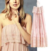 2017 New Maxi Dress For Festival Holiday Pink Embroidery Dress Women Halter Strapless Ruffles Sexy Party