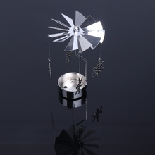 New  Rotary Spinning Tealight Candle Metal Tea light Holder Carousel Home Decor Holidays Gift