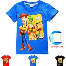 лучшая цена 2019 Toy Story 4 Children T-shirts Top O-neck 100% Cotton Boys Girls Kids tshirt Cartoon Teen Summer Clothing Baby T-shirt