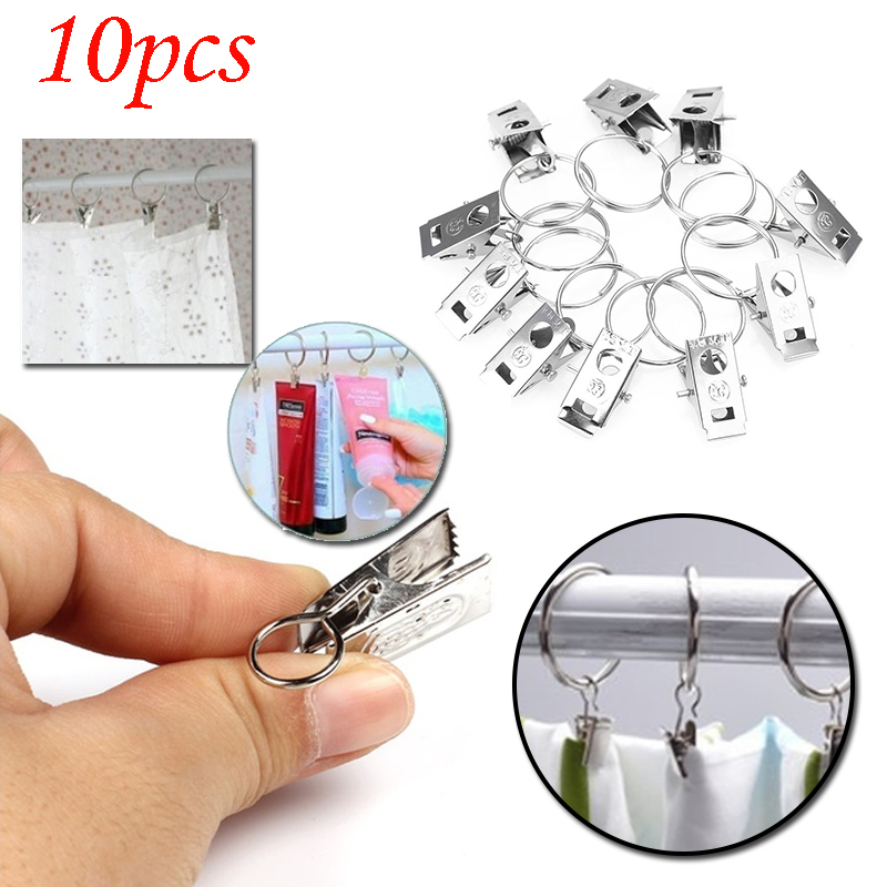 10Pcs Metal Window Shower Curtain Drapery Rod Clips Eyelets Rings Universal