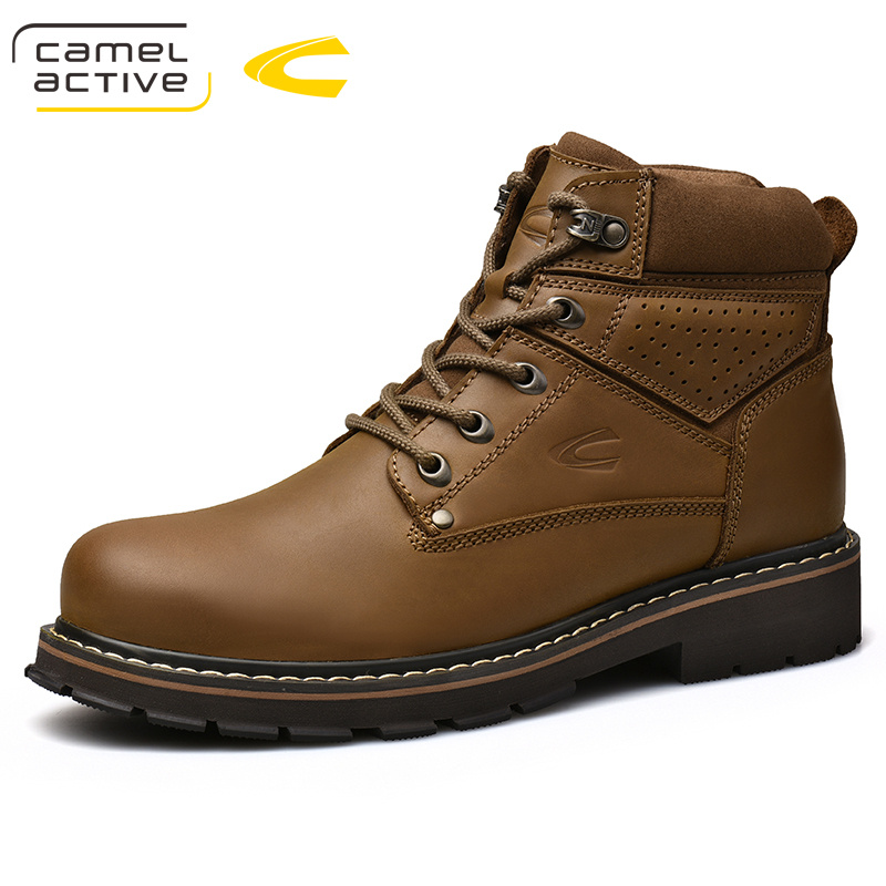 Camel Active New Top Quality Mens Winter Fashion Genuine Leather Round Toe Lace Up Motorcycle Boots Ankle Boots Wool Snow Boots