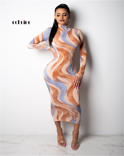 47c377c32bd7 Mulheres Sexy Vestido Curva Echoine Gola Impressão Multicolor Cobra Bodycon  Manga Comprida Tornozelo-Comprimento vestido
