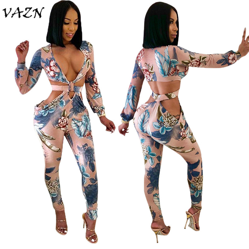 VAZN Hot Fashion Elegant Style 2018 Sexy Women   Jumpsuit   Print Hollow Out V-Neck Full Sleeve Bodycon Romper CY1042