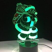 Santa Claus 3D Lamp 7 Color LED Night Light
