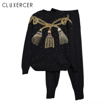 Women Tracksuits Two Piece Set Fashion Handmade Beading Sequined Bow Pullover Sweater +Pants Suits Casual Womens