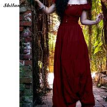 Women Vintage Renaissance Gothic Dress Floor-Length Cosplay Costume Medieval Retro Gown Tunic Summer Long Plus Size
