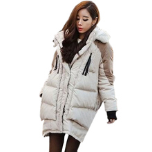 New 2016 Fashion Brand Long Winter Coat Women White Duck Down Jacket Female Parka With Hood Army Green Black Outwear For Women