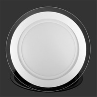 24W Glass LED Panel Light Recessed Ceiling Downlight Round Shape Cutting Hole 205mm Recessed Lighting Lamp Indoor Lighting