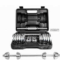 Kansoon 15kg Silver Electroplating Adjustable Weights Man Dumbbell Set With Carry Case Barbell Home Gym Fitness Training We
