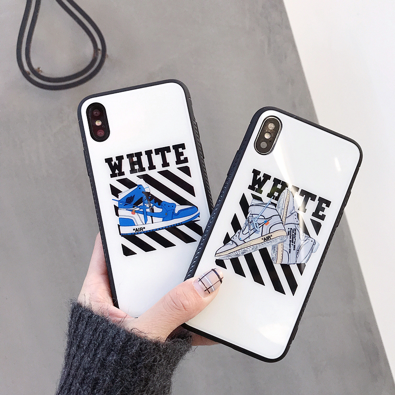 Fashion off Air Jordan AJ1 Tempered Glass Case for iPhone 8 7 6 6S Plus X  XS Max XR Ow white Shoes phone cover Couple coque b01b34a4a