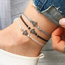 2019 Summer Beach Turtle Shaped Charm Rope String Anklets For Women Ankle Bracelet Woman Sandals On The Leg Chain Foot Jewelry(China)
