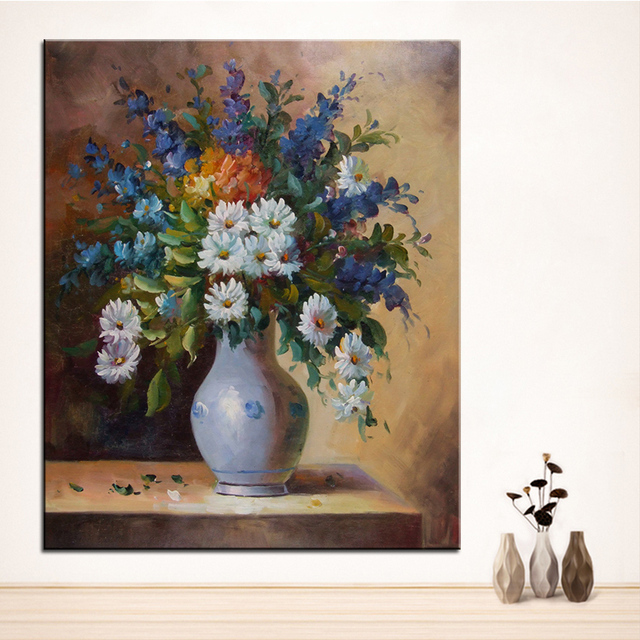 Wall Art Wall Decor Wall Flower Painting Antique Vase Original Oil