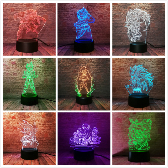Dragon Ball Legends Super Saiyan God Goku Action Figures 3D Table Lamp 7 Color Changing Night Light Boys Child Kids Baby Gifts