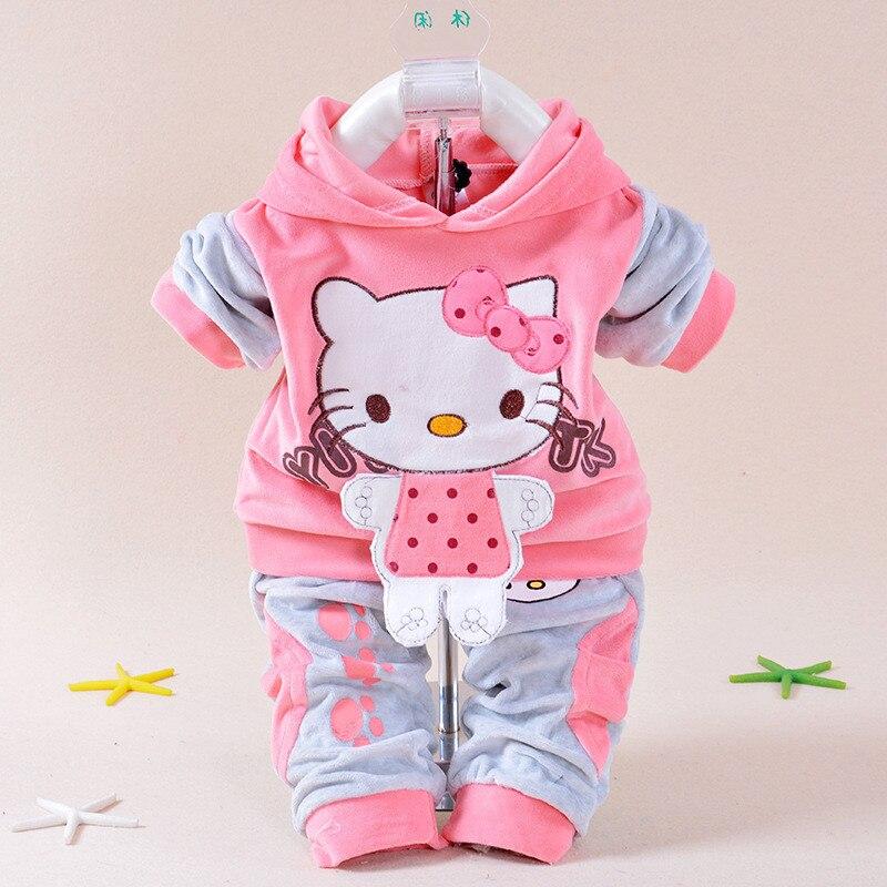 b33c1a5c9 2019 New Spring/Autumn Baby Set Velvet Hello Kitty Cartoon Print Hoodie+ Pant  Twinset Long Sleeve Velour Baby Clothing Sets-in Clothing Sets from Mother  ...