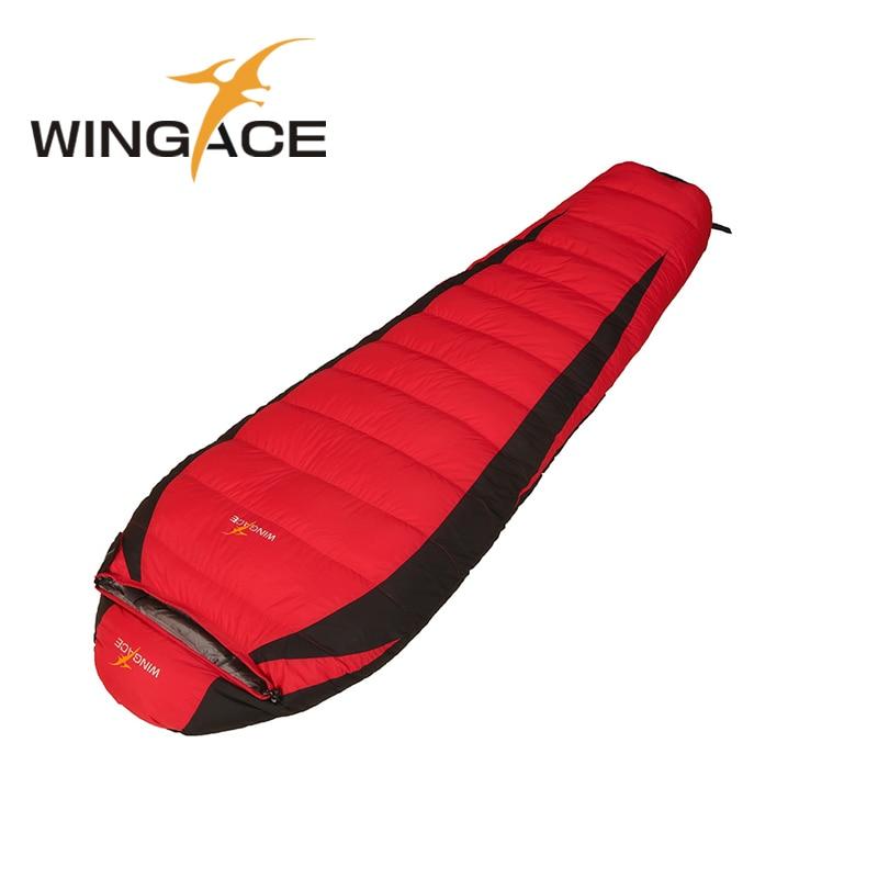 WINGACE Remplir 2000G 3000G 4000G Duvet de Canard Sac de Couchage D'hiver 320 T Nylon Maman En Plein Air Tourisme Camping sac de couchage Adulte