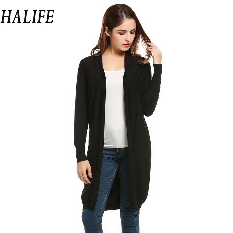 HALIFE Women Long Cardigan Feminino Autumn Poncho Long Sleeve Open ...