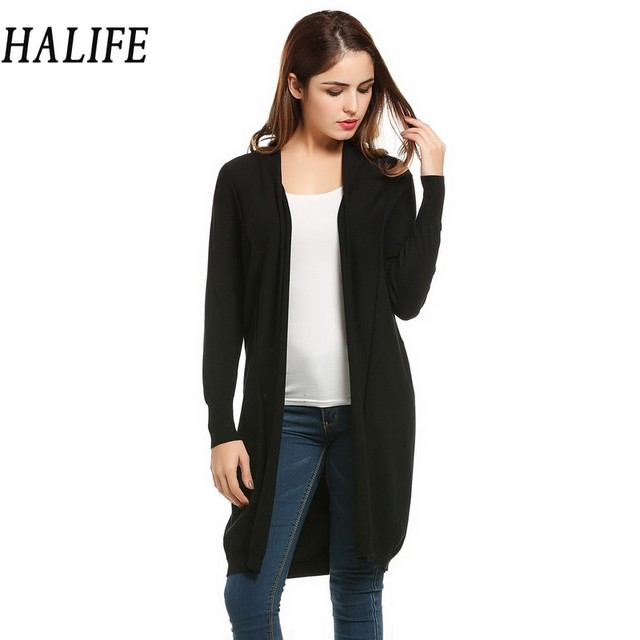 HALIFE Women Long Cardigan Feminino Autumn Poncho Long Sleeve Open Front  Thin Knit Black Cardigans Sweater