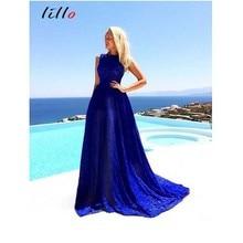 ef78cd615b EFKGH summer lace blue big sexy Elegant Simple trend women dress Solid color