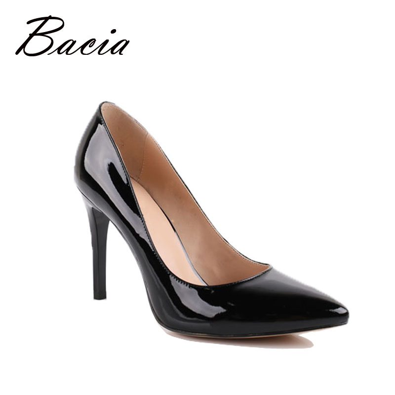 Bacia Genuine Leather shoes Summer Black High Heels Women Classic 9.5cm Thin Heel Pointed Toe Pumps Fashion Party Shoes VB001 summer women high heel shoes women pumps genuine leather pointed toe buckle crystal women square heel fashion party shoes