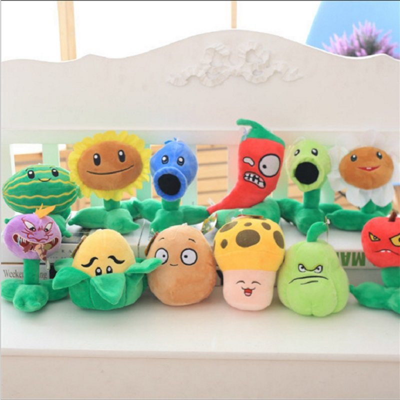 12pcs hot sale Plants vs Zombies Peashooter Plush Stuffed Toys Doll Action Figure Model Toy Gifts For Children Christmas gifts