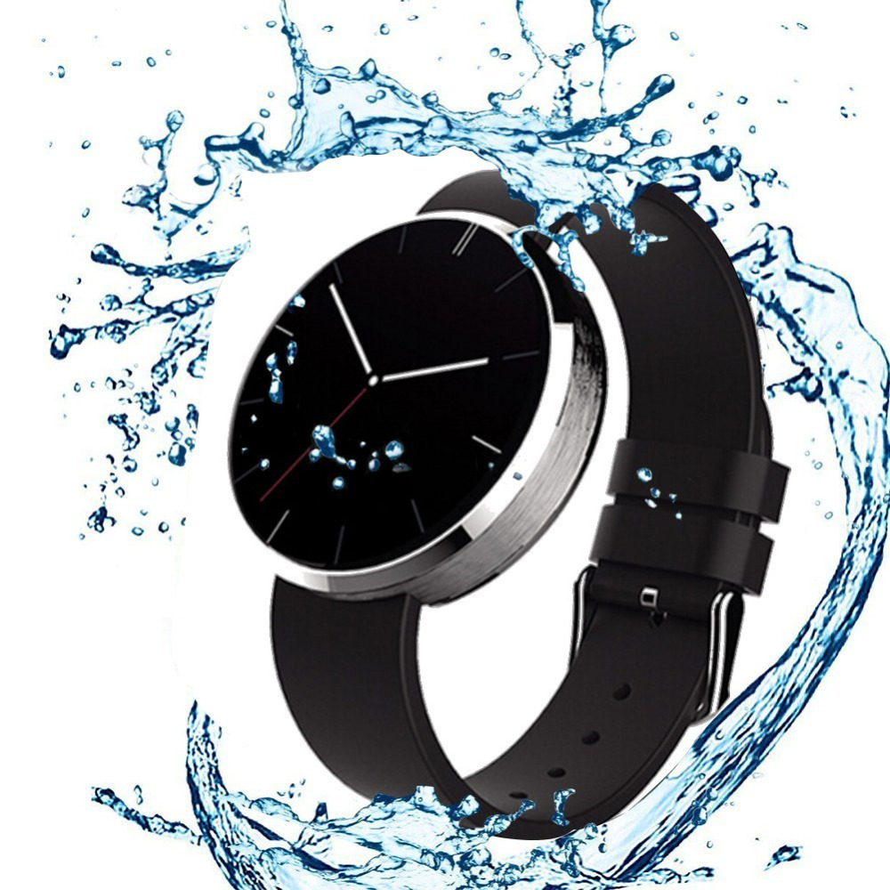 Smartwatch Bluetooth Smart Watch FDM360 Heart Rate Monitor Leather Band Wristwatch Fitness Tracker for iPhone iOS Android Phone