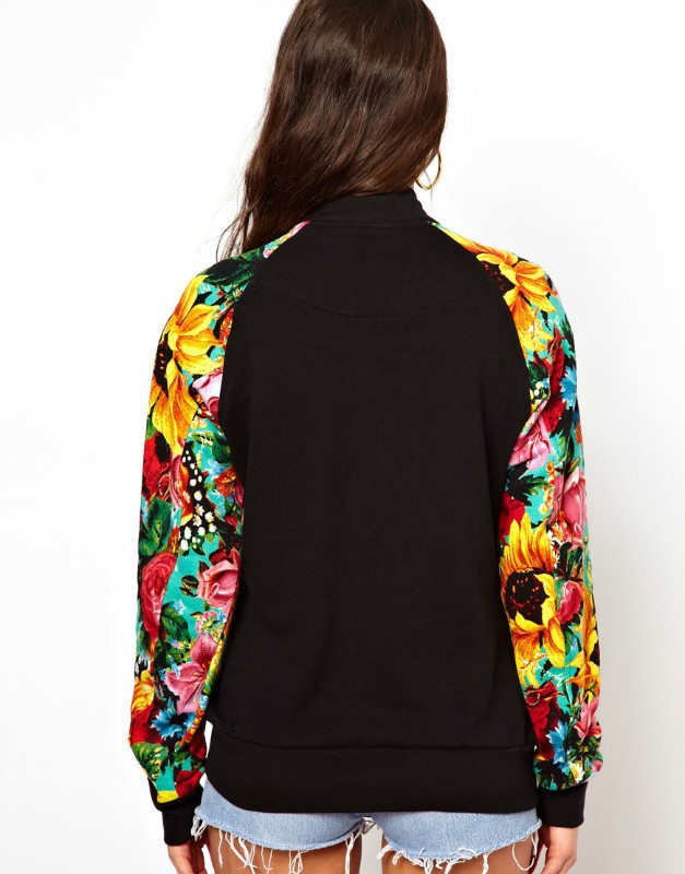 Baseball jacket for women and man, unisex varsity jacket, letterman jacket  with flower print-in Basic Jackets from Womenu0027s Clothing u0026 Accessories on  ...