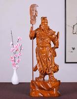 Желтые груши резьба по дереву Гуань Гун Будды загородных домов деньги сплошной красного дерева cr украшения дома статуя Прямая продажа с фаб