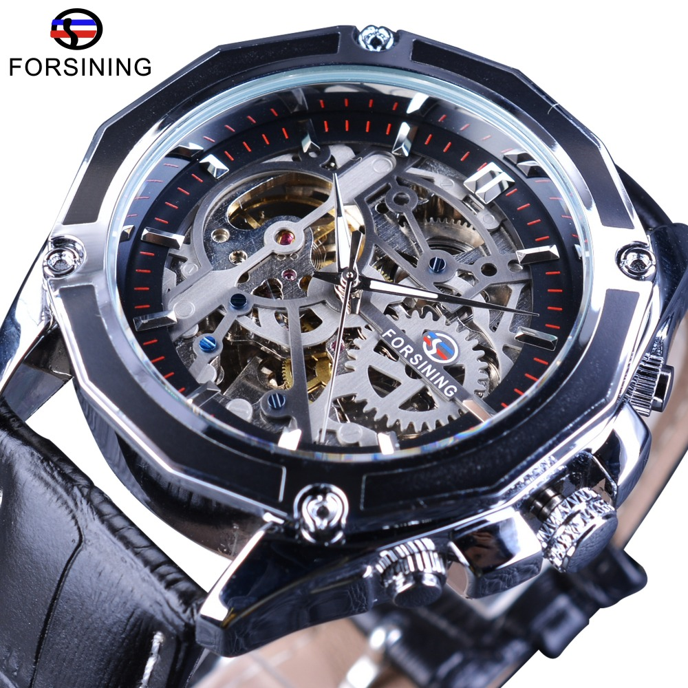 Forsining Gear Transparent Movement Steampunk Wristwatch Genuine Belt Self Wind Automatic Men Skeleton Watches Top Brand Luxury forsining 3d skeleton twisting design golden movement inside transparent case mens watches top brand luxury automatic watches