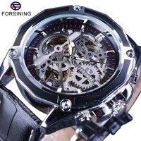 Forsining Gear Transparent Movement Steampunk Wristwatch Genuine Belt Self Wind Automatic Men Skeleton Watches Top Brand Luxury