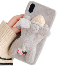 For Phone XS Case, Handmade 3D Doll Plush Toy Super Cute Animal Unique Design Rabbit Fur Soft Feel Protective Case Cover