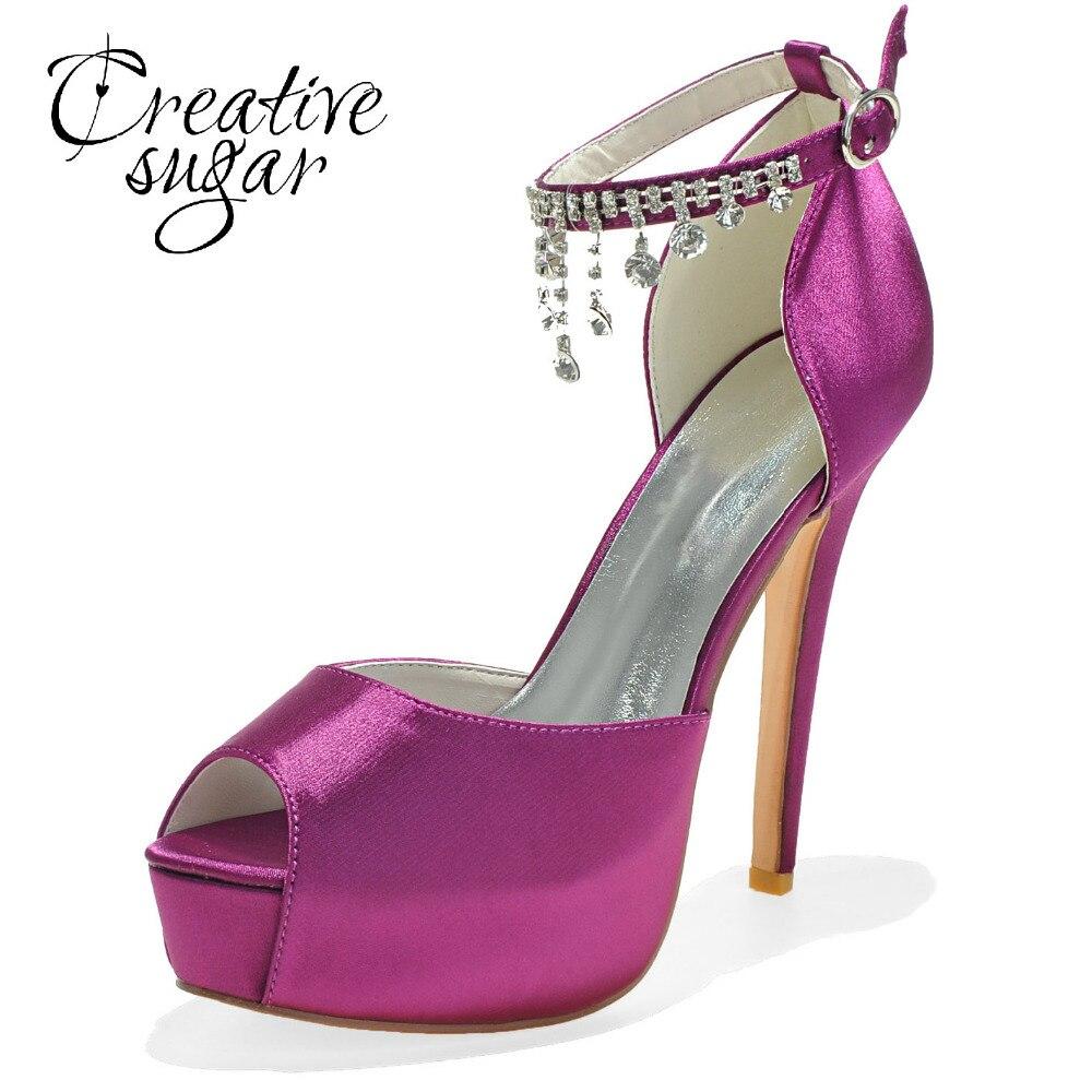 44986ae0e446 Creativesugar Platform high heel D orsay peep toe woman ankle strap crystal tassel  ladies wedding