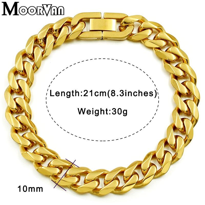 Moorvan Jewelry Men Bracelet Cuban links & chains Stainless Steel Bracelet for Bangle Male Accessory Wholesale B284 11