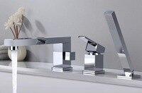 Ванна кран Водопад Носик смесители Chrome или матовый черный латунь Ванная комната смеситель для душа с Handshower BF668