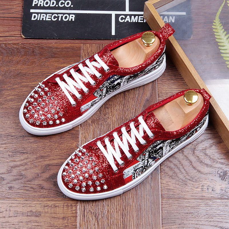 Fashion Men's Sneakers Studded Rivets Casual Black Round Toe Shoes Man Heavy Bottom Lace Up Male Flats Zapatos Hombre-in Men's Casual Shoes from Shoes on Aliexpress.com | Alibaba Group 25