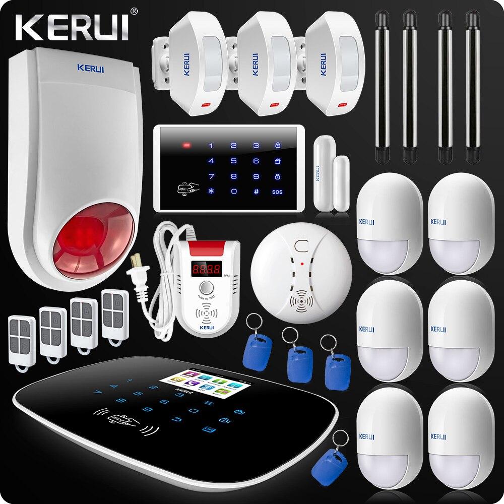 Lastest W193 3G Security Alarm Wifi GSM PSTN  Home Burglar LCD GSM SMS Touch Screen Alarm Home Alarm Wireless Beam Gas Sensor