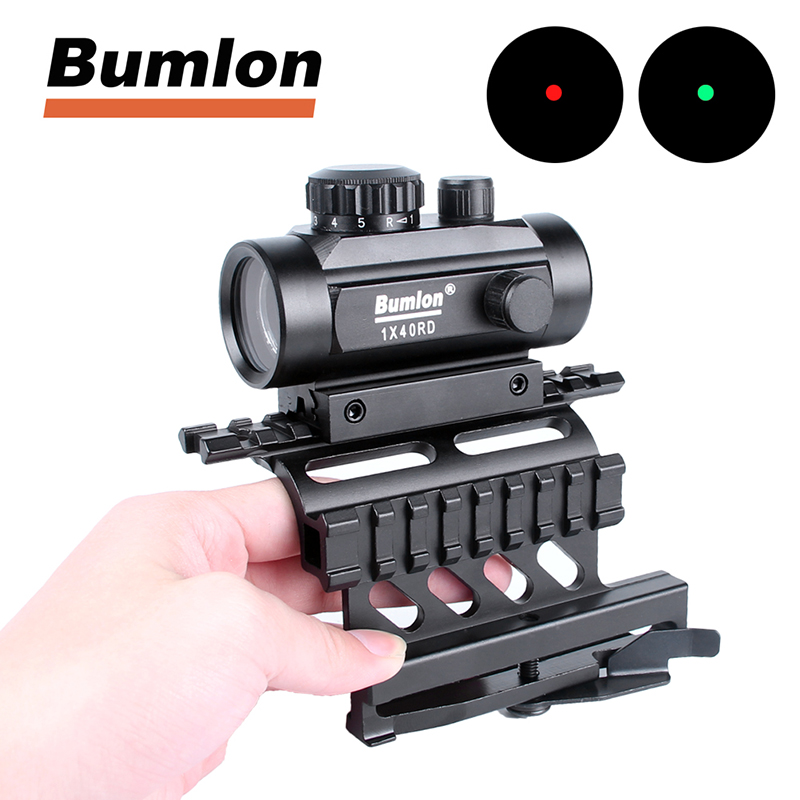 1 x 40 Red Dot Sight Airsoft Red Green Dot Sight Scope with AK 47 AK-47 AK47 74 Scope Mount QD Quick Detchable Double Side Mount