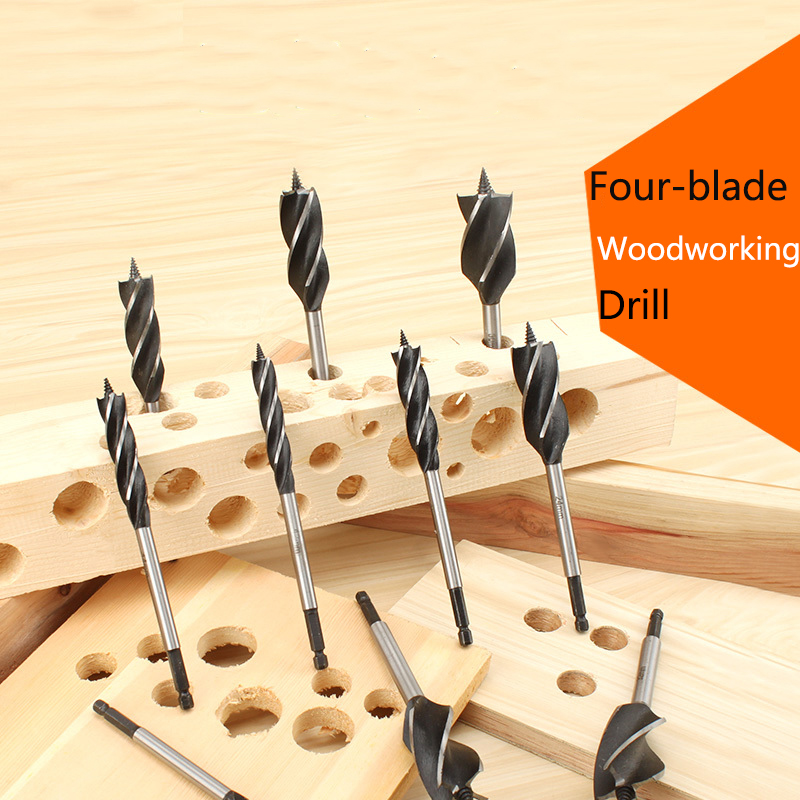 Hex Shank Four-Slot Four-Blade Door Lock Ddrawer Opening Wood Drill Bit Hole Saw Woodworking Tools 10/12/14mm Drill Bits