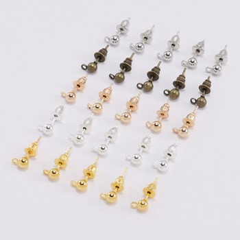 50Pcs Gold Rhodium Ball Beads Stud Earring Ear pin Post Stopper Earplugs For Jewelry Making Findings DIY Accessories 10pcs stainless steel ball studs earring pins post gold rhodium color ear stud with loop for diy accessories jewelry making z866