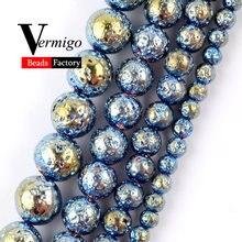 Оптовая продажа бусины из натурального камня голубая гематита