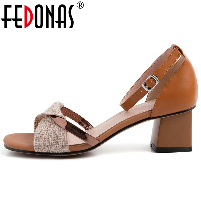 FEDONAS Women New Classic Design Pumps Genuine Leather Square High Heels Party Dress Shoes Woman Cover Heel Buckle Strap Sandals