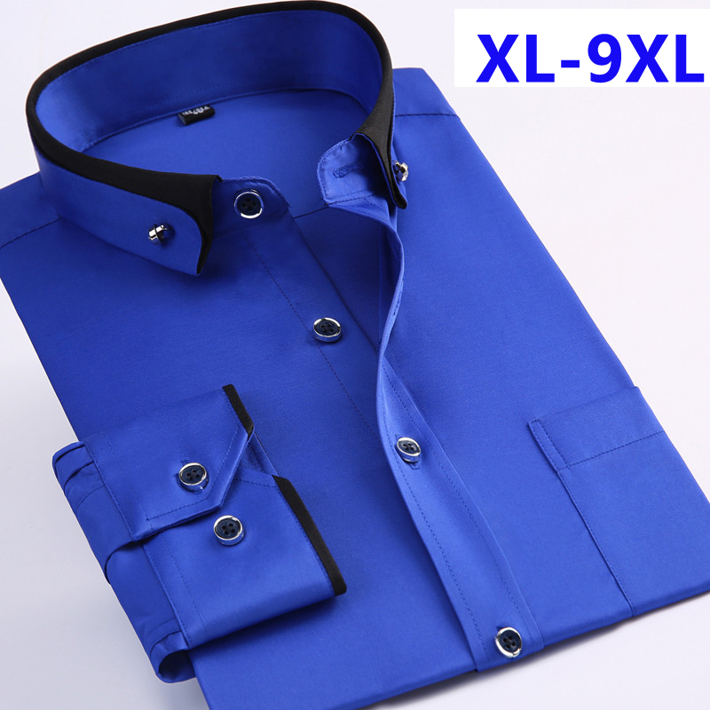 New Arrival Spring Commercial Easy Care Shirt Male Oversize Long-sleeve Fashion Formal High Quality Plus Size M-7XL8XL9XL(China)