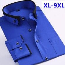 Yeni varış bahar ticari kolay bakım gömlek erkek büyük boy uzun kollu moda resmi yüksek kalite artı boyutu M 7XL8XL9XL