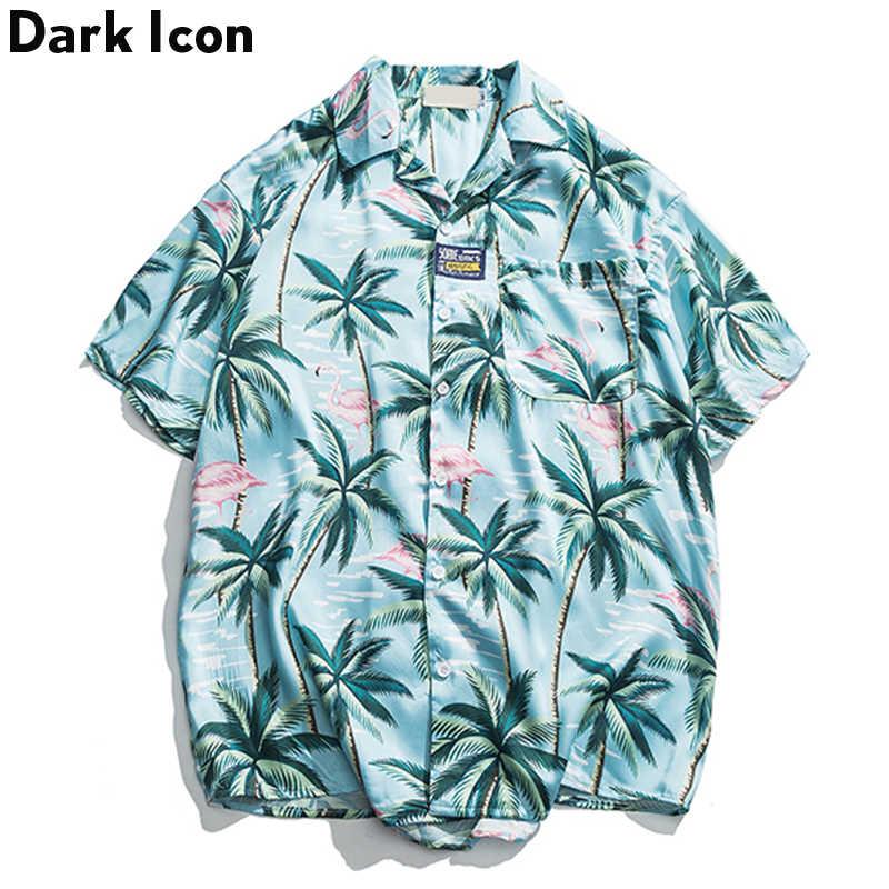 Темный логотип кокосовое дерево печати ретрорубашка мужчины 2019 лето праздник Гавайские хипстерские рубашки для мужчин Уличная одежда
