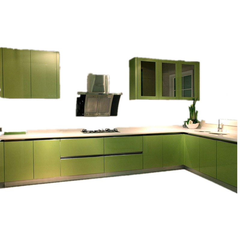 Kitchen Cabinet Set: Green Modern High Glossy Lacquer Kitchen Cabinet Set-in