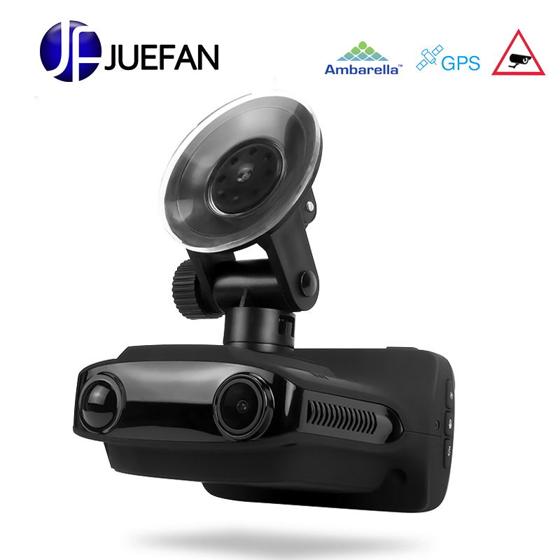 JUEFAN Multifunction car dvr gps dvr radar detector Overspeed prompt FHD1296P Recorder Russian Language Car Camera dash camera