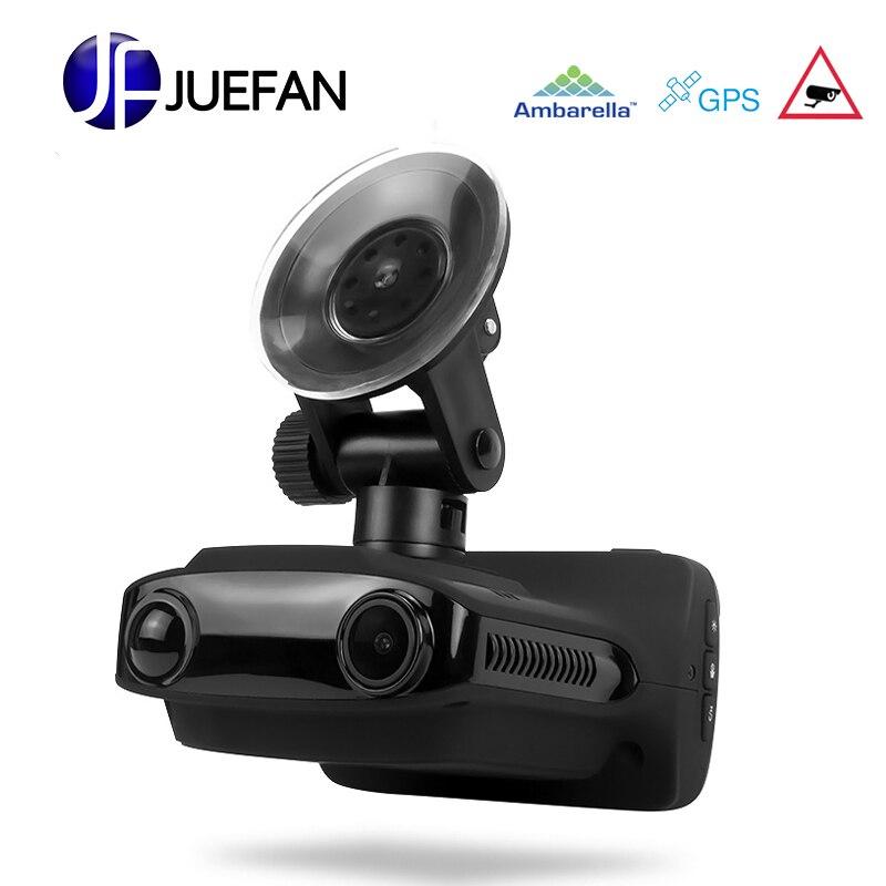JUEFAN multifonction voiture dvr gps dvr détecteur de radar survitesse invite FHD1296P enregistreur russe langue voiture caméra dash caméra