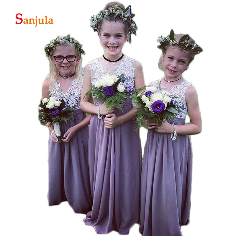 Purple Chiffon   Flower     Girls     Dresses   Tank A-Line V Neck Lace Charming   Girls   Pageant Party   Dress   vestido longo infantil D200