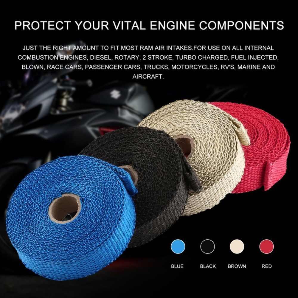 4 色 Incombustible ターボマニホールド絶縁排気ヘッダラップテープ熱ステンレスジップタイ車用オートバイ